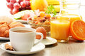 Breakfast With Coffee, Orange Juice, Croissant, Egg, Vegetables Stock Images - 31229824