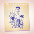 Family Of Four Note Paper Sketch Royalty Free Stock Images - 31231189