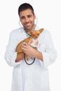 Happy Vet Checking Dog With Stethoscope Stock Photography - 31240702