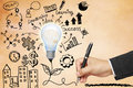 Business Hand Drawing Light Bulb With Symbols Stock Images - 31244764