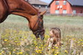 Girl Sitting On The Ground And Chestnut Horse Standing Near Royalty Free Stock Photos - 31251918