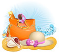 Seaside Summer Holiday Background With Palm,bag,hat Stock Images - 31330614