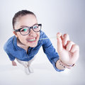 Pretty Girl With Perfect Teeth Wearing Geek Glasses Smiling And Playing With Chuwing Gum Royalty Free Stock Photo - 31347505