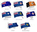 A Collection Of The Flags Covering The Corresponding Shapes From The Australian States Royalty Free Stock Images - 31352979