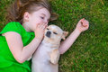 Blond Happy Girl With Her Chihuahua Doggy Portrait Royalty Free Stock Photo - 31373235