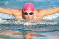 Swimming Man Athlete Butterfly Swimmer Stroke Stock Images - 31373714