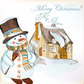 Christmas Background With Hand Drawn Snowman And Little House Royalty Free Stock Photography - 31378267