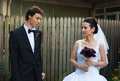 Bride And Groom In Courtyard Stock Image - 31395191