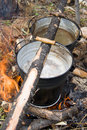 Boiling Water In Pails Stock Photography - 3144762
