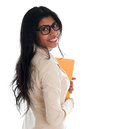Indian Business Woman Holding File Folder Document. Royalty Free Stock Photo - 31400685