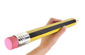 Hand Holding A Big Pencil Stock Photo - 31406200