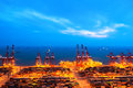 Container Terminal At Nightfall Royalty Free Stock Images - 31421259