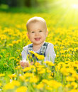 Happy Baby Girl On  Meadow With Yellow Flowers  On Stock Photo - 31427030