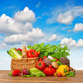 Fresh Vegetables And Herbs With Blue Sky Stock Image - 31432361