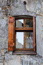 Wooden Window On An Old Degraded Wall Stock Images - 31466384