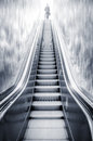 Futuristic Escalator Between Waterfalls And A Man On The Top, Re Stock Photography - 31472912