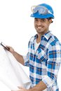 Young Architect With Floor Plan Royalty Free Stock Photo - 31473625