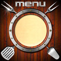 Wooden Menu With Metal Porthole Stock Photos - 31505753