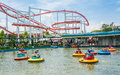 People Play Lifebuoy-shape Boat In The Amusment Park Stock Images - 31507164