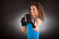 Beautiful Sporty Woman With Box Gloves Stock Photos - 31515793
