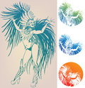 Ink Linework Dancing Girl In Carnival Feather Cost Stock Photo - 31519100