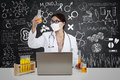 Beautiful Scientist With Flask And Laptop In Lab Royalty Free Stock Image - 31522796