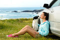 Happy Woman And Dog On Travel Stock Photography - 31527952