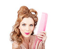 Cute Retro Female Hairdresser With Big Hair Comb Royalty Free Stock Photo - 31543875