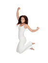Attractive Brunette Girl Dressed In White Jumping Stock Photo - 31551830