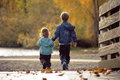 Brother And Sister Walking Near The Autumn Lake Stock Image - 31555461