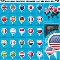 Round Pointer Flags World Top 25 States Set1 Stock Photography - 31578082