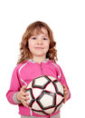 Happy Little Girl Hold Soccer Ball Royalty Free Stock Photo - 31586115