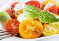 Cherry Tomato, Fresh Basil And Cheese Stock Photos - 31589703