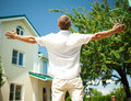 Happy Man Watching New House Royalty Free Stock Image - 31603086
