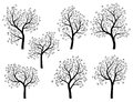 Abstract Silhouettes Of Spring Trees With Leaves. Royalty Free Stock Images - 31607509