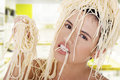 Young Beautiful Woman With Spaghetti Noodles Stock Photography - 31628842