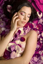 Beautiful Young Woman In Roses Petals Royalty Free Stock Photos - 31635638