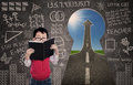 Close-up Boy Reading Book With Chalkboard And Success Road Stock Photo - 31642290