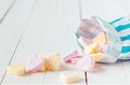 Macro Of Candy Bag Spilling Heart Shaped Candies Royalty Free Stock Photography - 31644407