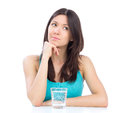 Woman Getting Ready To Drink Glass Of Water Stock Images - 31649314