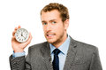 Businessman Holding Stop Watch Clock White Background Royalty Free Stock Images - 31654859