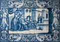 Traditional Blue Tiles Or Azulejos Decorated With A Domestic Scene. Lisbon. Portugal Royalty Free Stock Photo - 31664945