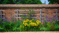 Flower Garden Wall With Trellis Stock Images - 31673154