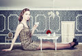 Woman In Little Room Stock Photos - 31702033