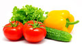 Vegetables Tomatos Cucumber Lettuce And Paprika Isolated Stock Photos - 31710513