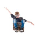 Young Boy Pilot Flying A Wood Box Royalty Free Stock Photo - 31715105