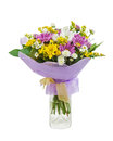 Colorful Bouquet From Gerberas In Glass Vase Isolated On White. Royalty Free Stock Photos - 31757668