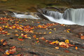 A Small Waterfall Over Smooth Rocks Royalty Free Stock Image - 31772166