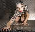 Portrait Of Beautiful Young European Model In Cat Make-up And Bodyart Stock Image - 31775201