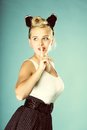 Pin Up Girl Finger Near Mouth Silence Gesture Royalty Free Stock Image - 31789856